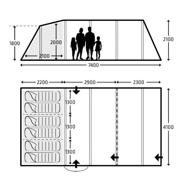 additional image for Kampa Croyde 6 Tent - 2021 Model
