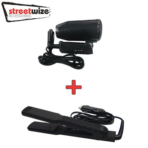 Streetwize 12V In Car Hair Dryer and Straighteners Set