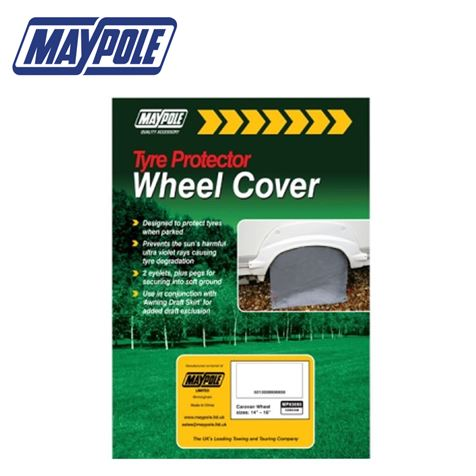 "Grey Caravan Wheel Cover & Pegs - 14"" to 16"""
