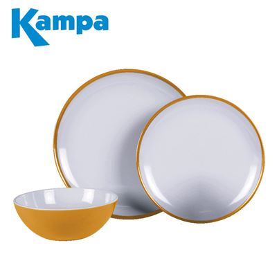 Kampa Kampa Sunset Yellow 12 Piece Melamine Set - New For 2021