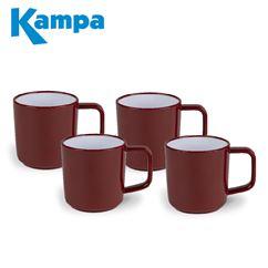 Kampa Ember Red 4 Piece Melamine Mug Set