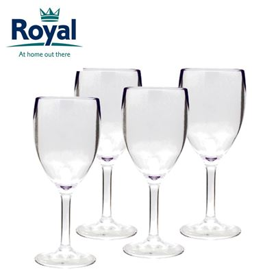 Royal Royal Pack of 4 Clear Acrylic Wine Glasses