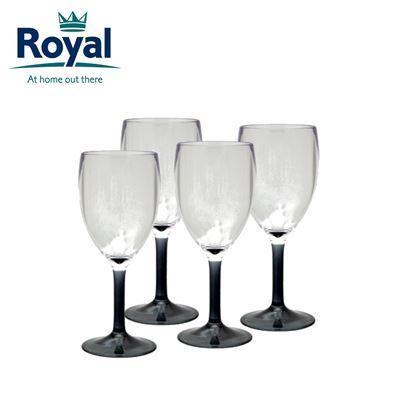Royal Royal Pack of 4 Smoked Acrylic Wine Glasses