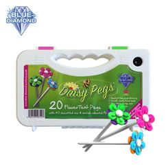 Blue Diamond Daisy Pegs & Carry Case with Peg Cleaner