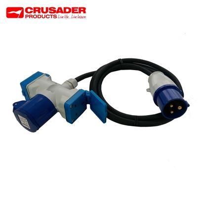 Crusader 16A Mains 3-Way Adaptor Caravan Site Cable
