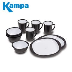 Kampa 12 Piece Dinner Set Charcoal