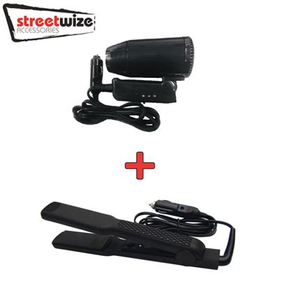 Streetwize Streetwize 12V In Car Hair Dryer and Straighteners Set