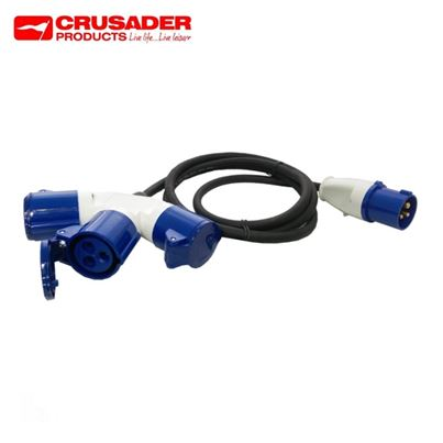 Crusader 16 Amp Plug to 3 Way Y Piece