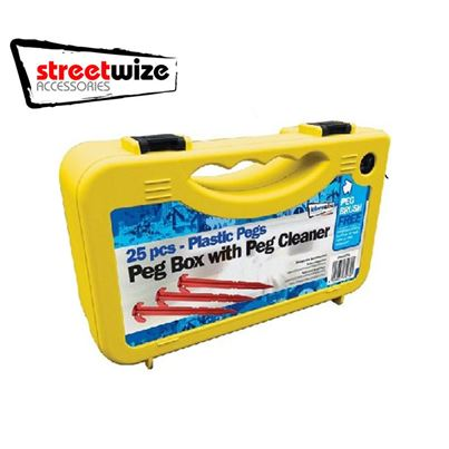 Streetwize 25 Piece Plastic Pegs in Case with Cleaning Brush