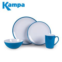 Kampa Vivid Blue Summer 16 Piece Melamine Set