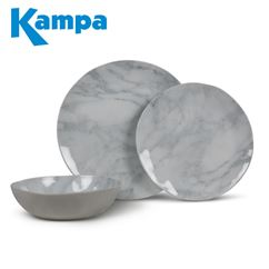 Kampa Marble 12 Piece Melamine Set - New For 2020