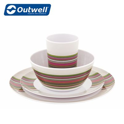 Outwell Outwell Blossom Melamine Couple Set in Magnolia Red