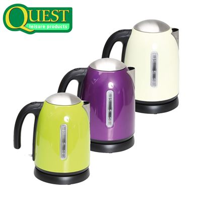 Quest Quest 1.2L Stainless Steel Cordless Kettle - Range of Colours