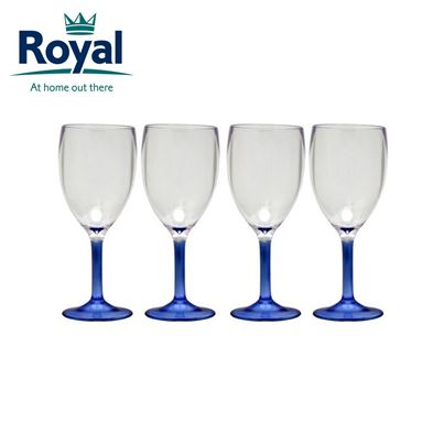 Royal Royal Pack of 4 Clear Blue Acrylic Wine Glasses