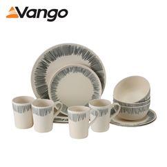 Vango 4 Person Bamboo Tableware Set Grey Stripe